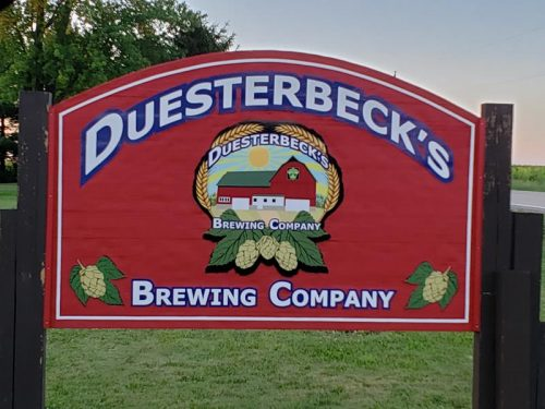 Entrance sign along Walworth County O at Duesterbeck's Brewing Company