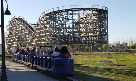 Train rides past the Zippin Pippin, Bay Beach Amusement Park, Green Bay, Wisconsin