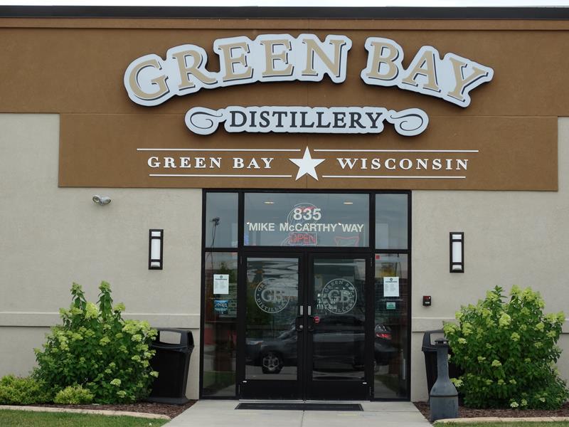 Green Bay Distillery entrance along Mike McCarthy Way in the Titletown District, Ashwaubenon, Wisconsin