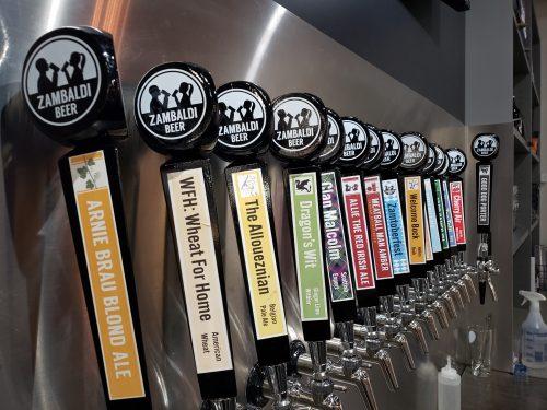 Taps at Zambaldi Brewing, Green Bay, Wisconsin