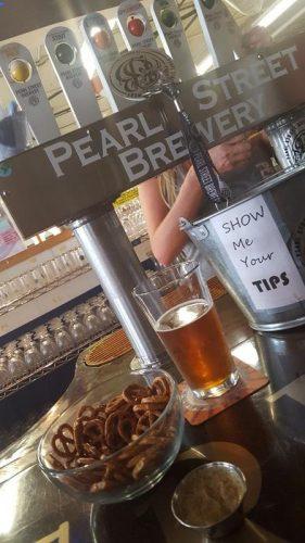 Clever tip jar at Pearl Street Brewery, La Crosse, Wisconsin