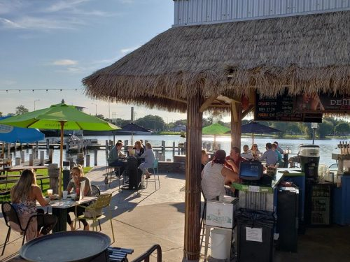 Outdoor patio at Fox River Brewing Company & Waterfront Restaurant in Oshkosh, Wisconsin