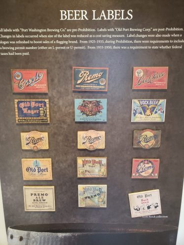 Port Washington brewing history, as shown with labels at the Port Exploreum in Port Washington, Wisconsin