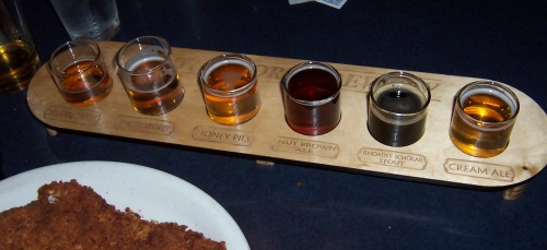Sampler at South Shore Brewery in Ashland and Washburn, Wisconsin