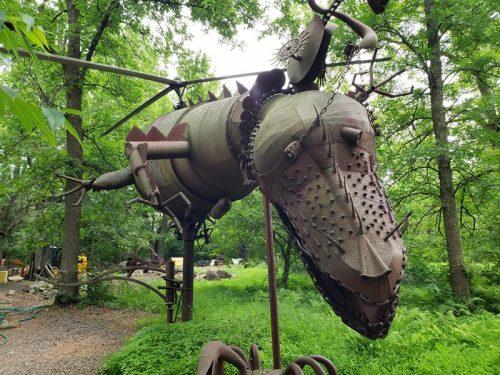 Huge metal sculptures at Jurustic Park, Marshfield, Wisconsin
