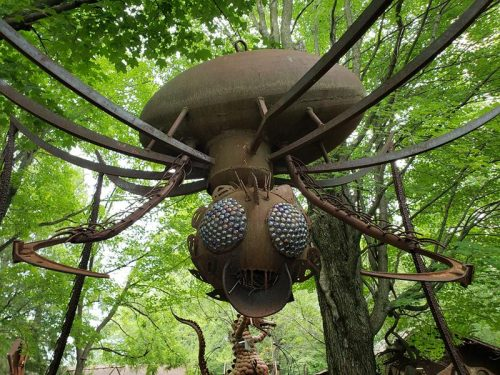 Big rusty metal bug at Jurustic Park, Marshfield, Wisconsin