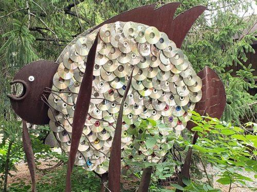 Fish and CDs at Jurustic Park, Marshfield, Wisconsin