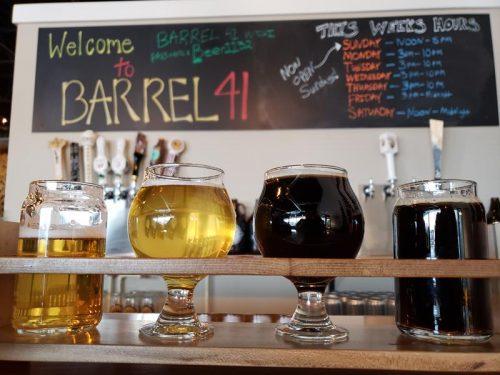 Sample flight at Barrel 41 Brewing Company, Neenah, Wisconsin