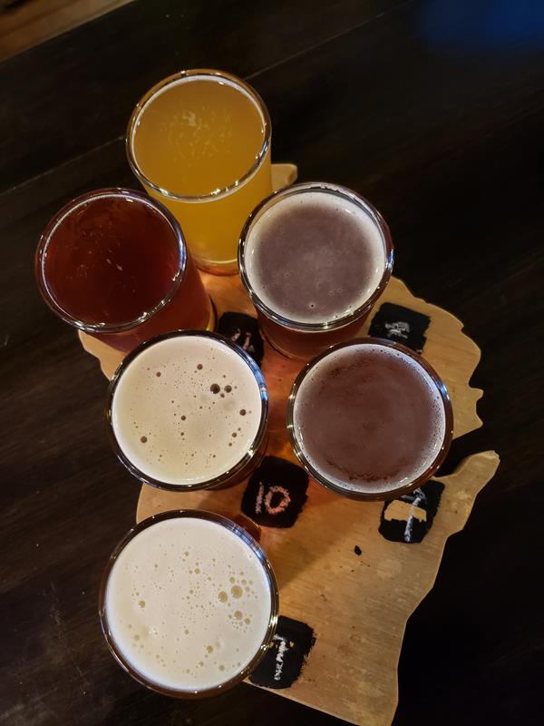 Wisconsin-shaped flight at Knuth Brewing Company, Ripon, Wisconsin