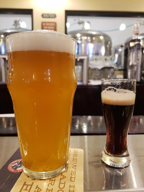 A pint and a sample at Bent Rail Brewpub, Westfield, Wisconsin