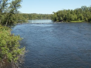 The St. Croix River on the Wisconsin-Minnesota border from the bridge at the western end of Wisconsin Highway 77