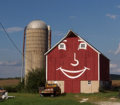 Smiley barn along Highway 83 near Mukwonago