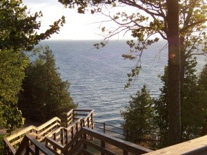 Overlooking the waters of Green Bay from Ellison Bluff.