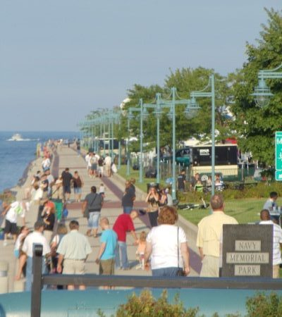 The walkway along HarborPark in Kenosha