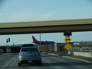 Wisconsin Highway 38 features an airport runway overpass.