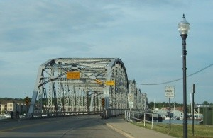 """Approaching the Michigan Avenue Bridge in Sturgeon Bay, built in 1930 and for decades the only crossing to the """"upper"""" Door Peninsula."""