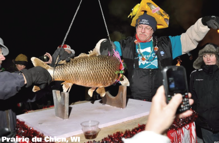 Forget the Ball: Wisconsin drops cheese and carp on New Year's Eve.