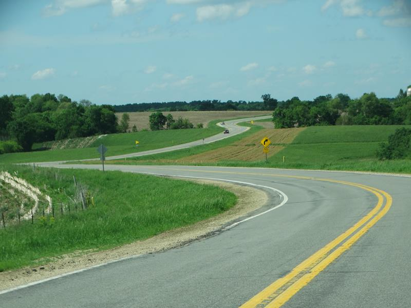Wisconsin Highway 95 zigzagging along Fountain City Ridge in Buffalo County.