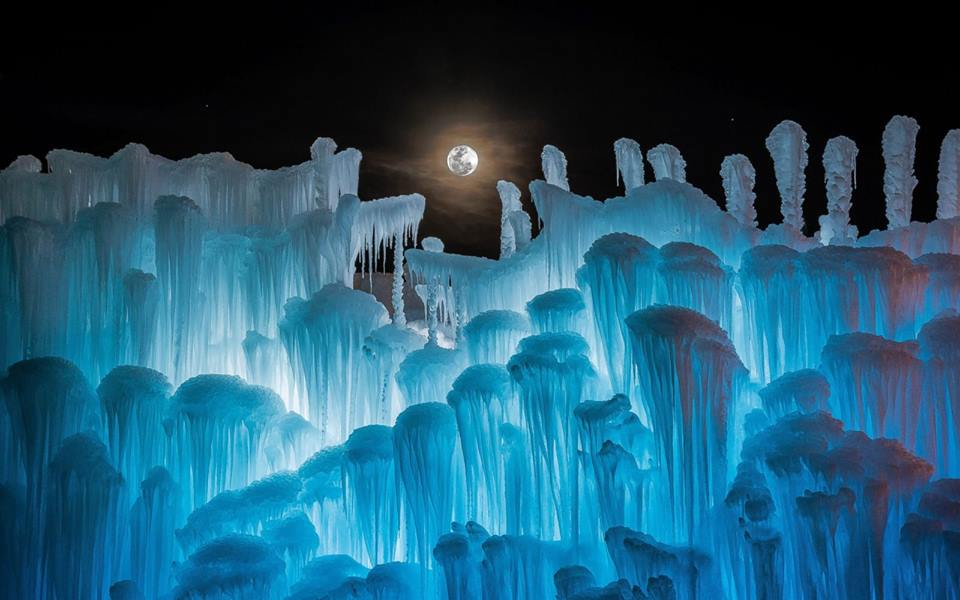 Ice Castles Wisconsin at night