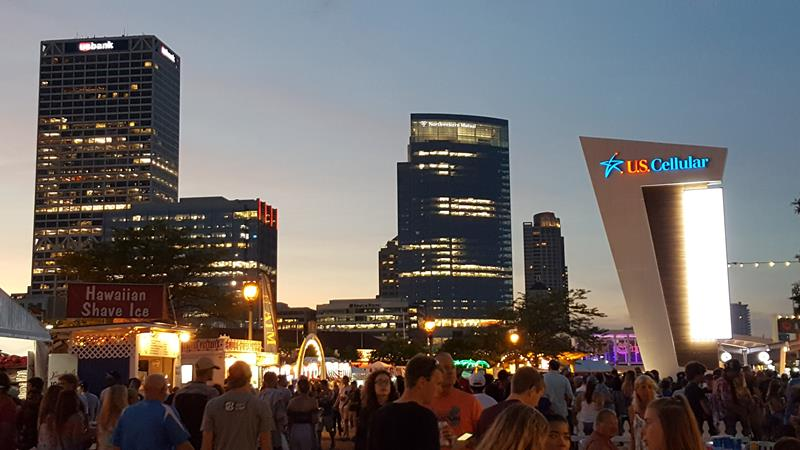 Summerfest 2018, skyline and US Cellular Stage Sign