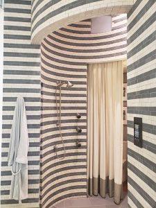 Stripe-filled shower at the Kohler Design Center