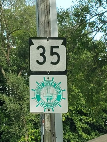 Wisconsin Highway 35 & Great River Road sign outside of Trempealeau