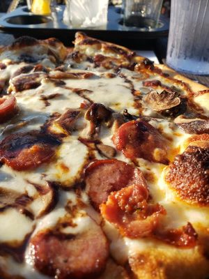 Wood-fired pie at Tumbled Rock Brewery & Kitchen, south of Baraboo along Highway 136