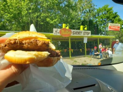 Burger at Mullins Short Stop Drive-In along Highway 73 & Business U.S. 151 in Columbus, Wisconsin