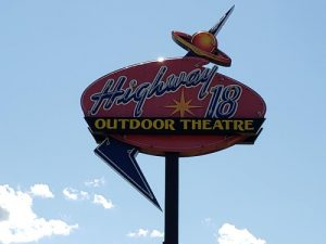 Highway 18 Outdoor Drive-In sign, along U.S. 18 west of Jefferson