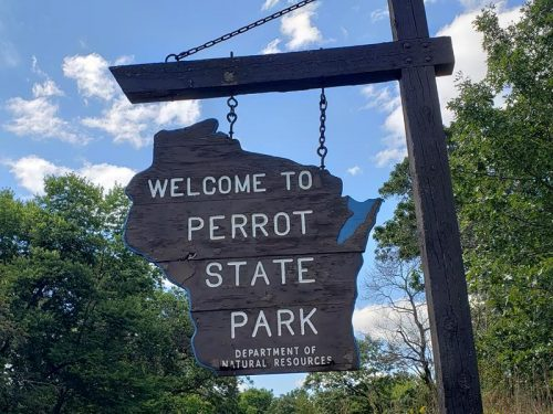 Welcome sign at Perrot State Park, Trempealeau, Wisconsin