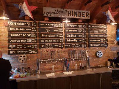 The menu wall at Hinder Brewing Company, Waupaca, Wisconsin