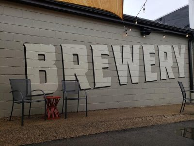Brewery graphic on the patio at Hinder Brewing Company, Waupaca, Wisconsin