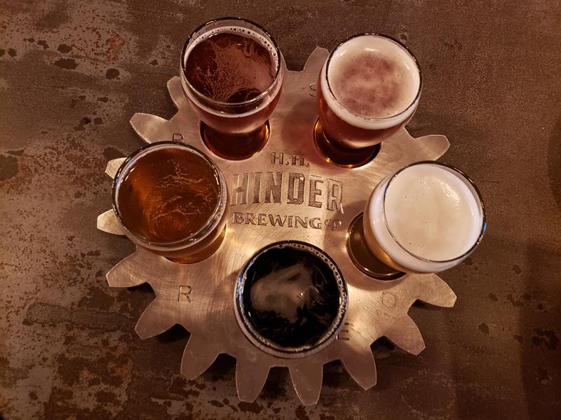 Samplers in a sprocket at Hinder Brewing Company, Waupaca, Wisconsin