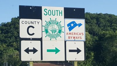 The way to Wyalusing: County C and the Great River Road near Bagley, Wisconsin