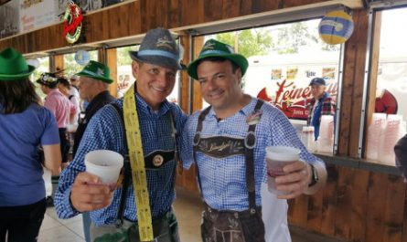 Dick Leinenkugel and State Trunk Tour founder Eric Paulsen at Oktoberfest in Chippewa Falls. Leinie's is offering free Oktoberfest beer if you listen to one minute of polka for the 2020 Oktoberfest season.