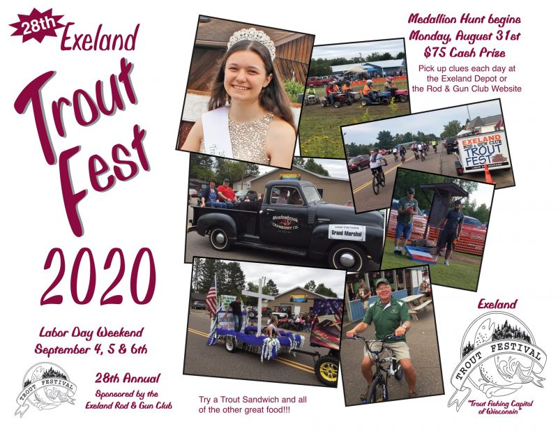 Exeland Trout Festival, September 4-6, 2020 in Exeland, Wisconsin along Highway 48 in Sawyer County.