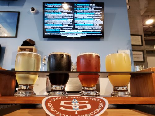 A flight at Sahale Ale Works, Grafton, Wisconsin