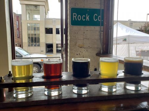 Flight of five samples at Rock County Brewing Company, Janesville, Wisconsin