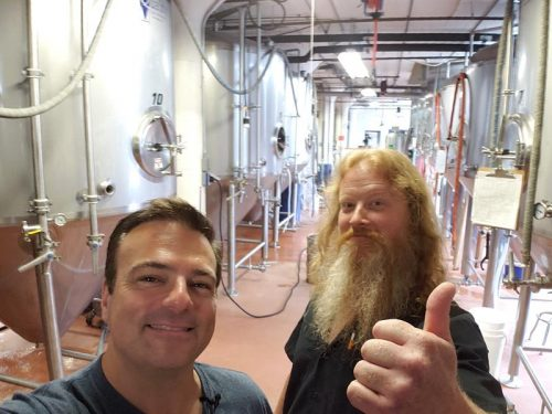 State Trunk Tour founder Eric Paulsen with Pearl Street Brewery founder Joe Katchever in La Crosse