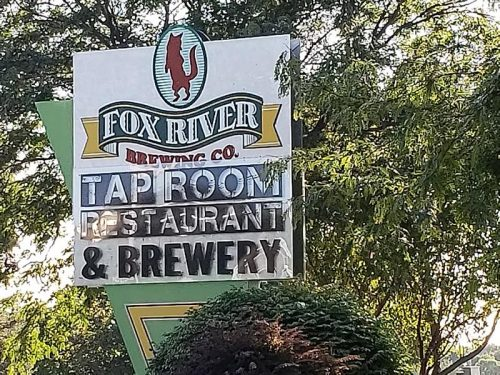 Sign for the Fox River Brewing Company Tap Room & Restaurant in Oshkosh, Wisconsin