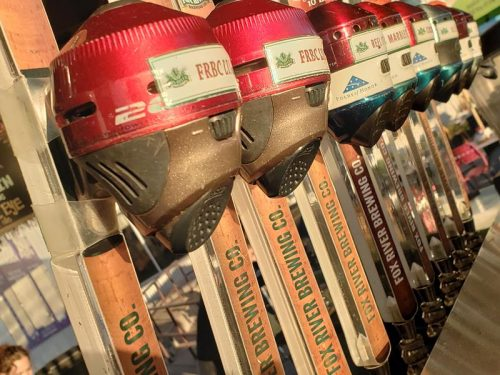Tap handles and reels at Fox River Brewing Company, Oshkosh, Wisconsin