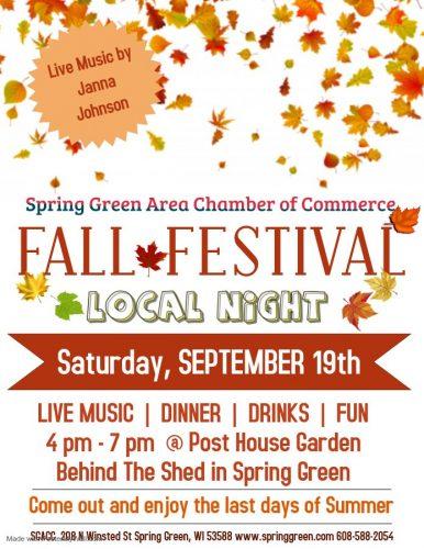 Spring Green Fall Festival, September 18-19, 2020