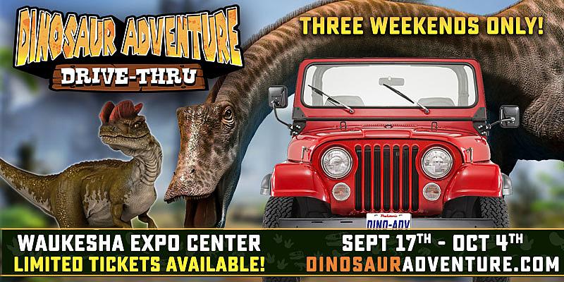 Dinosaur Adventure Drive Thru in Waukesha, Wisconsin, now through October 4, 2020
