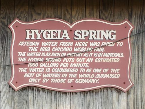 Hygeia Spring in Big Bend, Wisconsin just off Highway 164 along Historic Highway 24 and the Janesville Plank Road