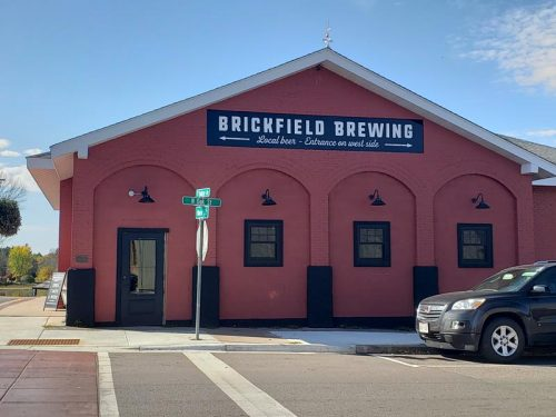 The approach (for most travelers) to Brickfield Brewing Company in downtown Grantsburg, Wisconsin