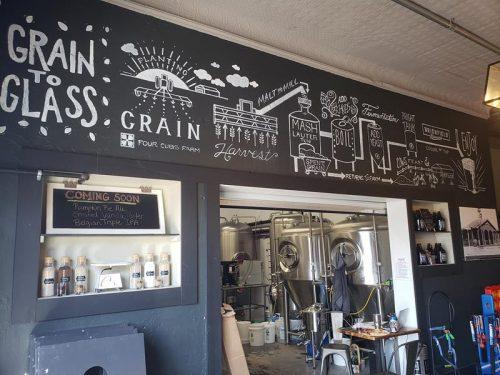 "The ""Grain to Glass"" mural inside Brickfield Brewing Company, Grantsburg, Wisconsin"