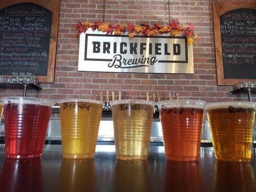 A flight at Brickfield Brewing Company, Grantsburg, Wisconsin
