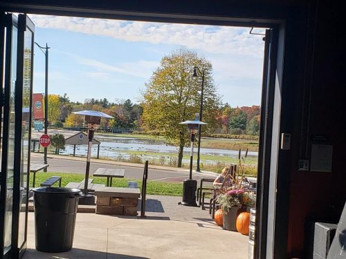 Memory Lake beyond the patio at Brickfield Brewing Company, Grantsburg, Wisconsin