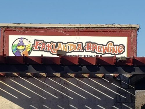 Sign atop Faklandia Brewing Company, St. Francis, Wisconsin