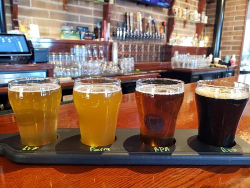 Flight at Faklandia Brewing Company, St. Francis, Wisconsin, just off Highway 32 and the Historic Yellowstone Trail
